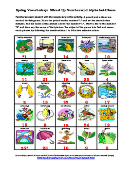 Spring Vocabulary:  Mixed Up Number and Alphabet Chase