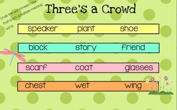 Spring Language Review (synonyms, antonyms, homophones, multiple-meaning words)