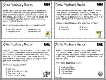 Spring Vocabulary Skills Task Cards