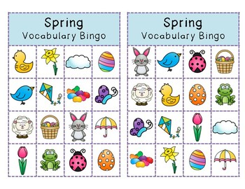Spring Vocabulary & WH Question Bingo