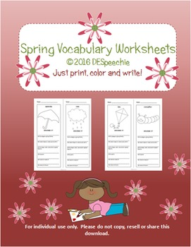 Spring Vocabulary Worksheets