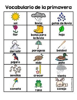 Spring Vocabulary & Writing Center in Spanish Word Wall (Vocabulario primavera)