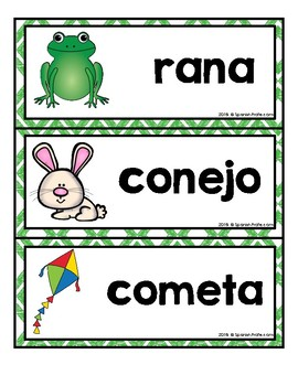 Spring Vocabulary & Writing Center in Spanish Word Wall (Vocabulario primavera)