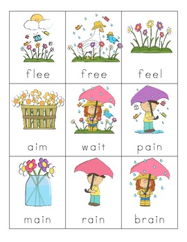 Spring Vowel Digraph Cards