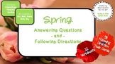 Spring WH Questions & Following Directions Speech (12 Worksheets, 96 Task Cards)
