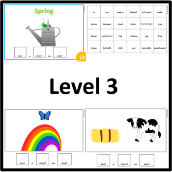 Spring WHO, WHERE, WHAT? Adapted book preposition Level 1, Level 2 and Level 3