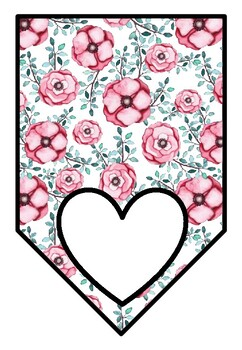 Spring, Watercolor Flowers, Classroom Decor, Blank Pennant Banners