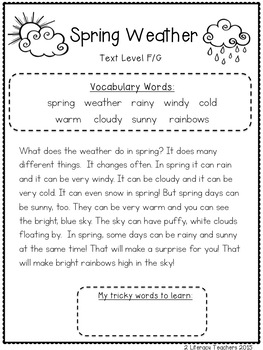 Spring Weather: CCSS Aligned Leveled Reading Passages and Activities Levels A-I