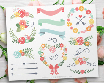 Spring Wedding Flowers, Floral Collection, SVG