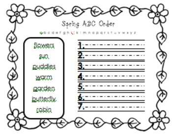 Spring Word ABC Order