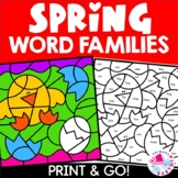Spring Word Families Color by Number Set; Short Vowel Families