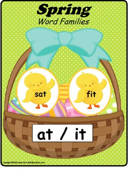 Spring Word Families File Folder Activities (SET OF 21}