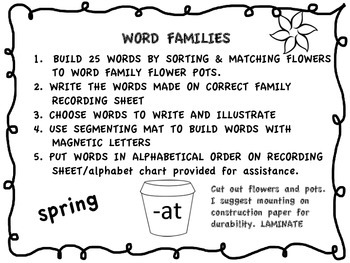 Spring Word Family Literacy Center