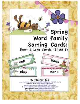 Spring Word Family Sorting Cards:  Short & Long Vowels (Silent E)