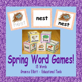 Spring Word Cubes and Cards for Games Freebie for K-1
