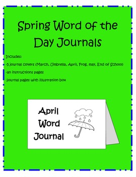 Spring Word Journals (6 covers)