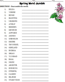 Spring Word Jumble, Fact/Opinion, Word Mining, Word Search, and Maze