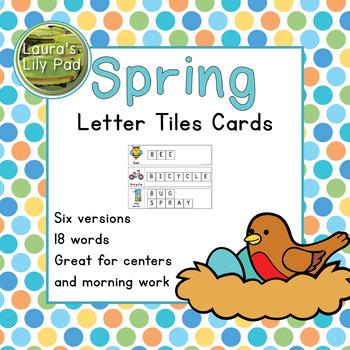 Spring Word Letter Tiles Cards