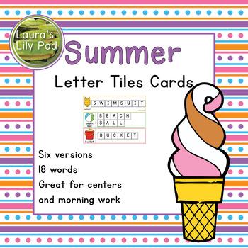 Summer Word Letter Tiles Cards
