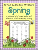 Spring Word List For Writers