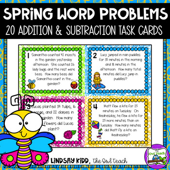 Second Grade Word Problems:  Spring Set