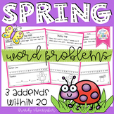 Spring Word Problems: 3 Addends Within 20