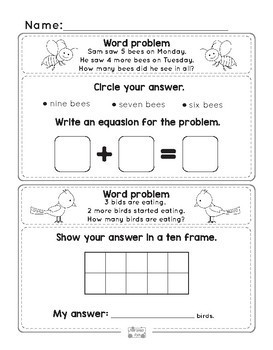 Spring Word Problems Addition to 10 - Kindergarten, First Grade Worksheets