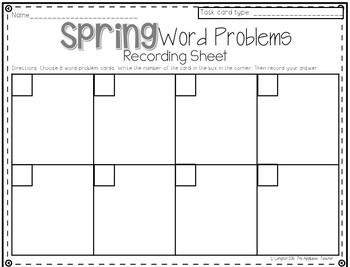 Spring Word Problems Differentiated Addition Subtraction Multiplication Division
