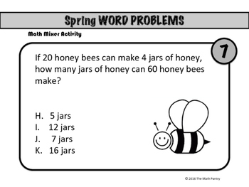 Spring Word Problems - Math Mixer Activity - Lower Elementary