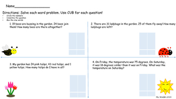 Spring Word Problems: Regrouping