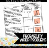Spring Word Problems Solve and Snip- Probability- Common Core