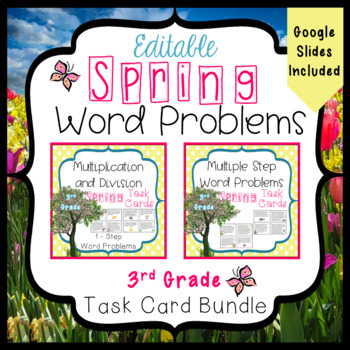 Spring Word Problems Bundle for 3rd Grade - 3.OA.3 and 3.OA.8