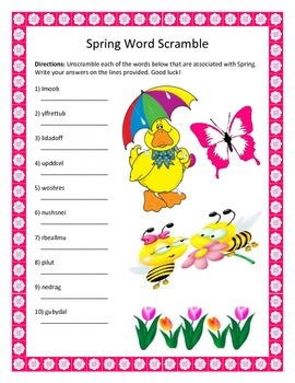 Spring Word Scramble- 10 Words