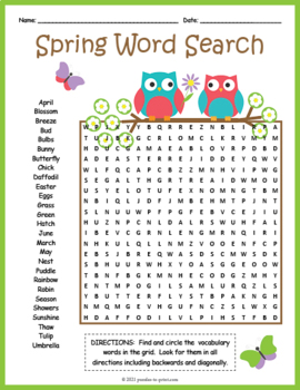 Spring Word Search By Puzzles To Print Teachers Pay Teachers