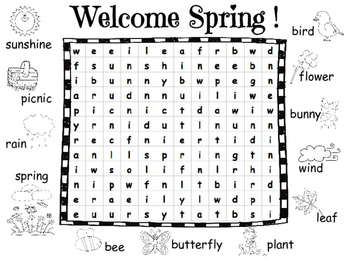 Spring Word Search with Pictures