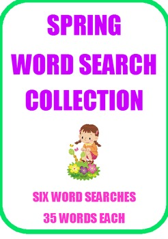 Spring Word Search Collection - SIX large word searches - 35 words each