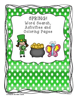 FREE St. Patrick's Day, *Spring* Word Search, Coloring Pag