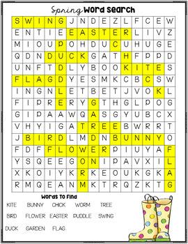 Spring Word Search Freebie