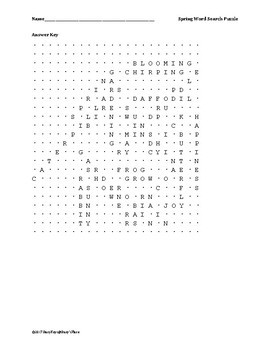 English Spring Word Search Puzzle