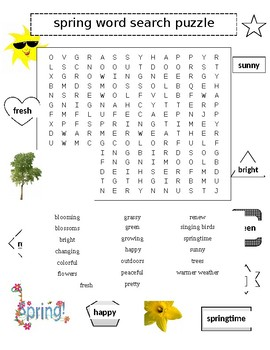 Spring Word Search Puzzle PLUS Summer 2 Puzzles
