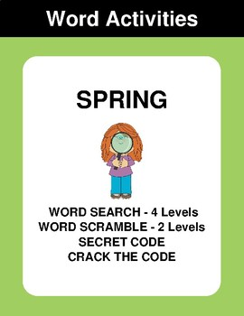 Spring - Word Search Puzzle, Word Scramble,  Secret Code,  Crack the Code