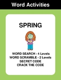 Spring - Word Search Puzzle, Word Scramble,  Secret Code,