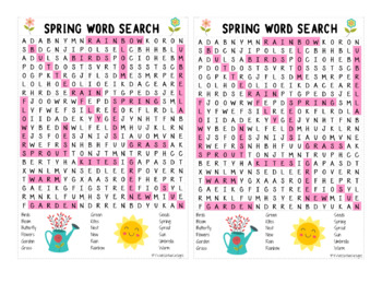 Spring Word Search - (prints 2 per page) Ans Key Included