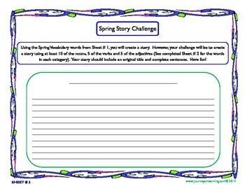 Spring Word Sort & Story Challenge