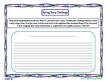 Spring Word Sort & Story Challenge