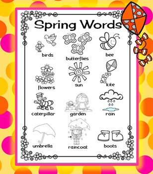 Spring Word Wall for Daily 5 Writing Portfolios / Journals / Writing Center