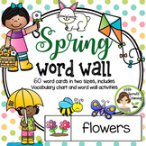 Spring Word Wall - 60 word cards 2 sizes, plus word list a