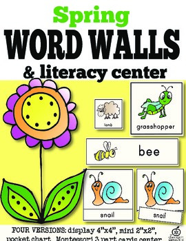 Spring Word Wall Cards and Literacy Center (43 words)