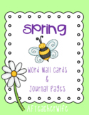 Spring Word Wall Cards Journal Pages