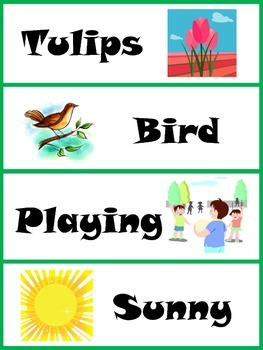 Spring Word Wall Cards with Illustrations